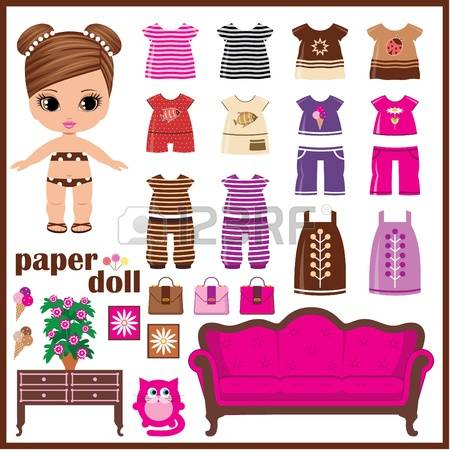 paper doll: Paper doll with clothes set Illustration