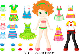 ... Paper doll with a set of summer clothes