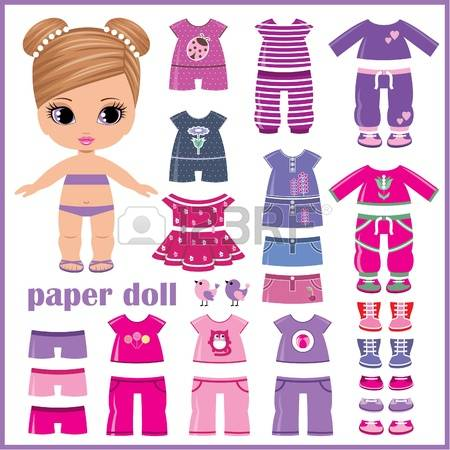 Paper Dolls: Paper Doll With Clothes Set-paper dolls: Paper doll with clothes set Illustration-17