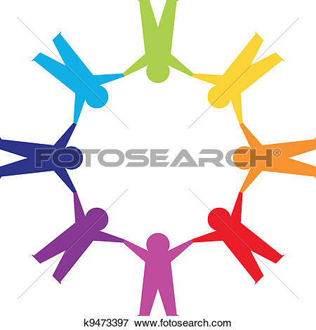 Paper people in circle holding hands. Colorfull world peace clip art