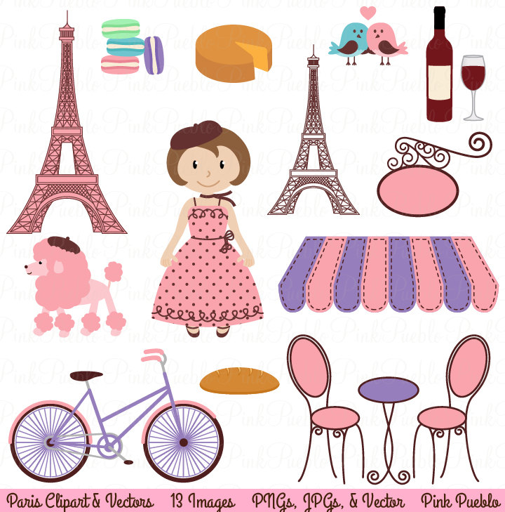 Paris Clip Art Clipart, French Clipart C-Paris Clip Art Clipart, French Clipart Clip Art with Eiffel Tower and Vectors - Commercial and Personal Use-10