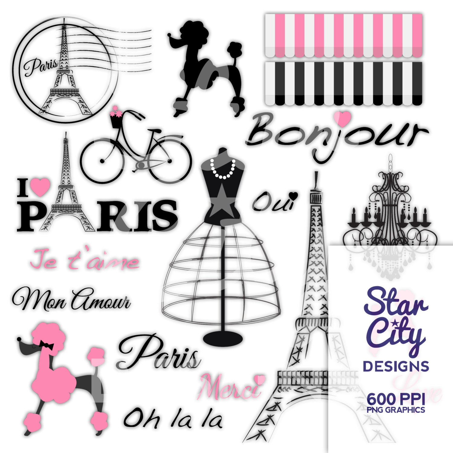 Paris Clipart, Paris poodle clipart, cli-Paris Clipart, Paris poodle clipart, clipart, clip art, digital graphics, instant download, chandelier clipart, bike clipart, pink paris art-6