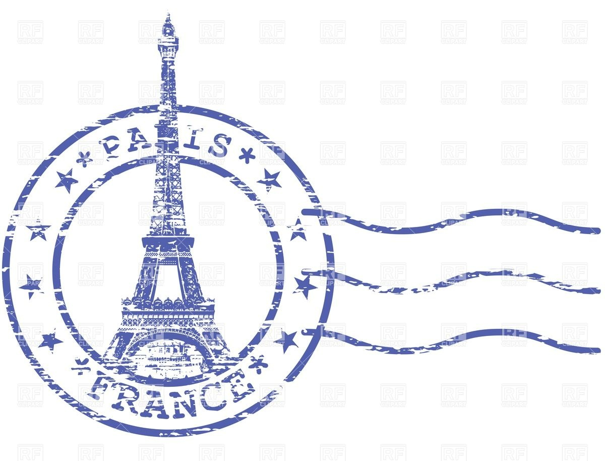 Shabby stamp with Eiffel tower - Sights of Paris Royalty Free Vector Clip  Art