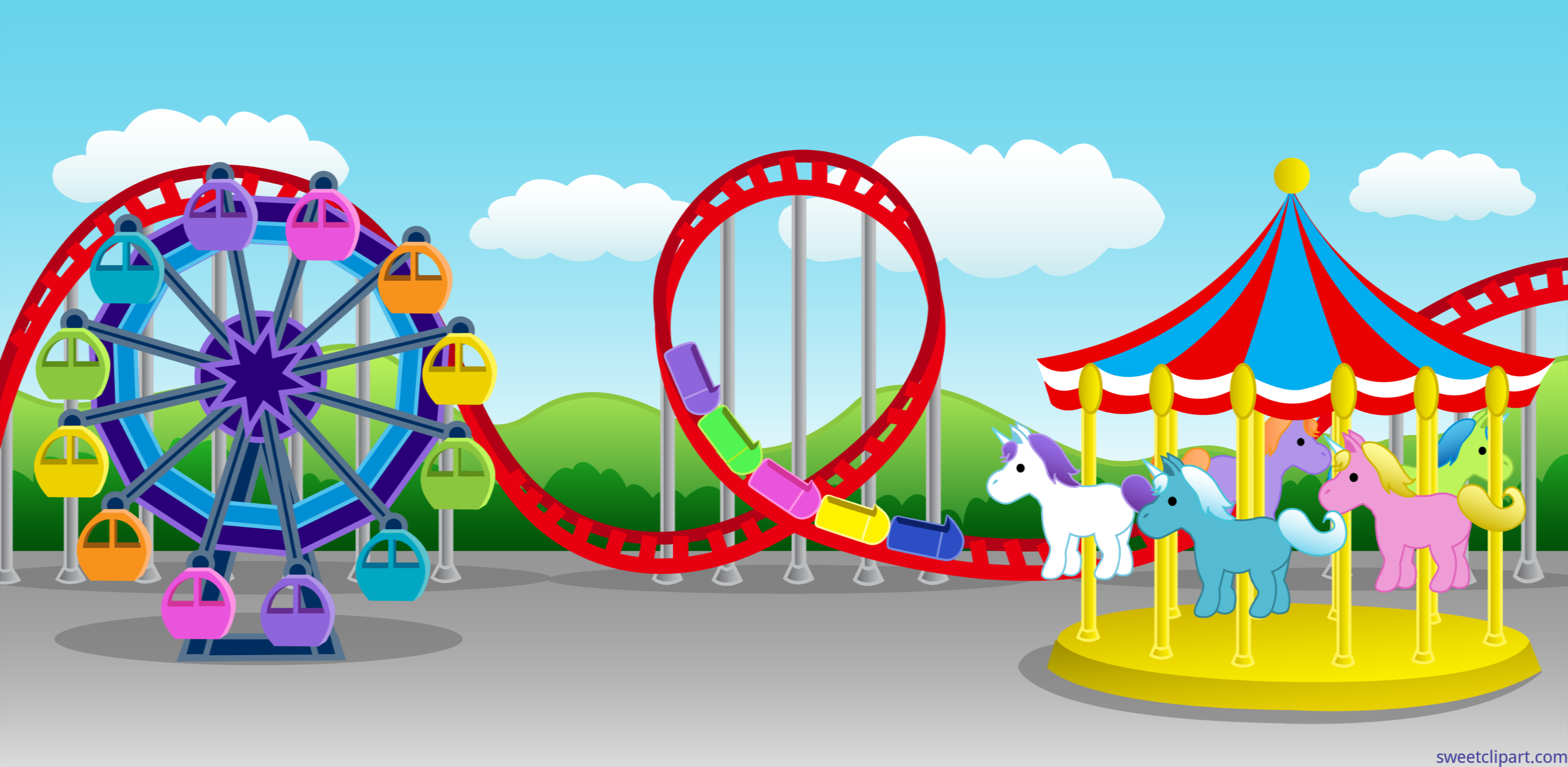 Carnival Amusement Park Setting Clip Art