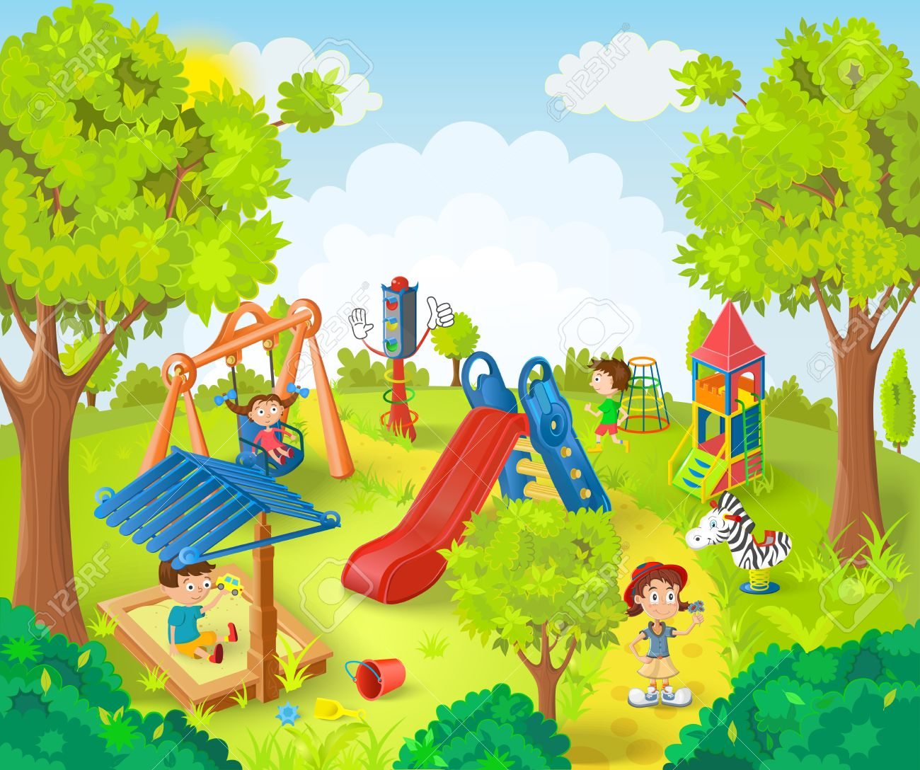 Children Playing In The Park Vector Illu-Children playing in the park vector illustration Stock Vector - 40006940-2
