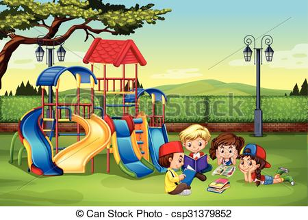 Children Reading In The Park - Csp313798-Children reading in the park - csp31379852-3