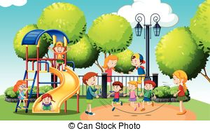Clip Artby hugolacasse3/31 Children playing in the public park illustration