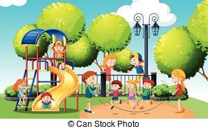 Clip Artby Hugolacasse3/31 Children Play-Clip Artby hugolacasse3/31 Children playing in the public park illustration-4