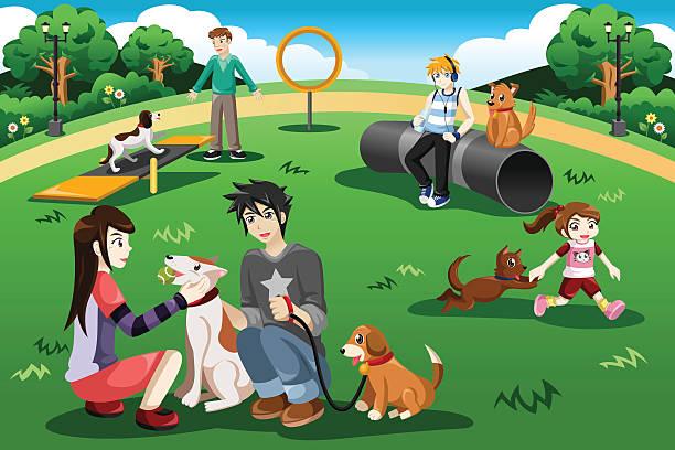People in a dog park vector art illustration
