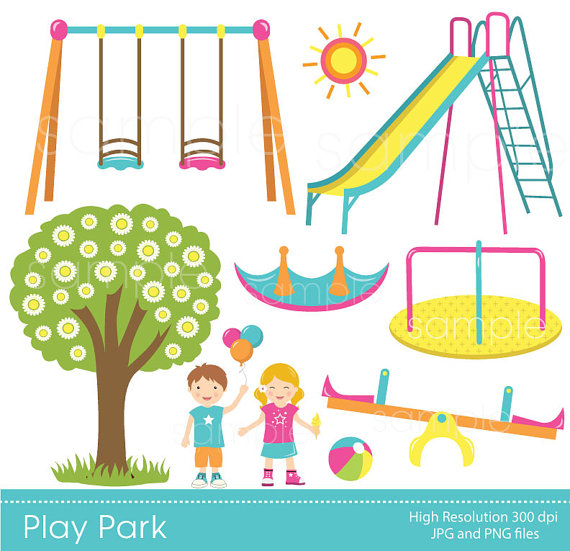Play Park Clipart, Playground Clipart, Swings Ride Clp art, only FOR  PERSONAL USE