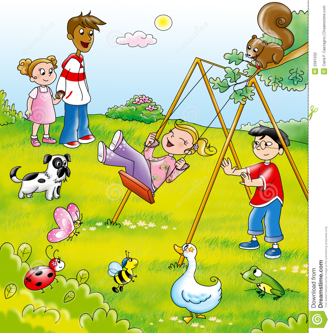 playing at a park clipart