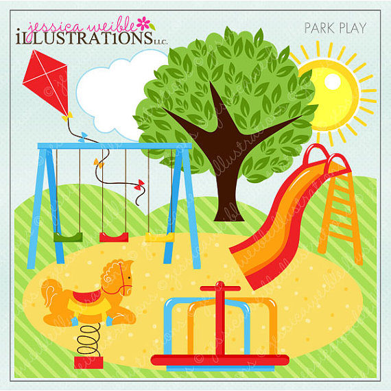 Park Play Cute Digital Clipar - Park Clip Art