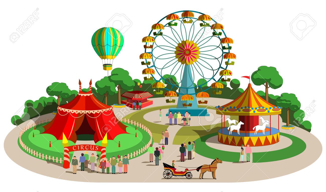 park , set of vector design . - Amusement Park Clip Art