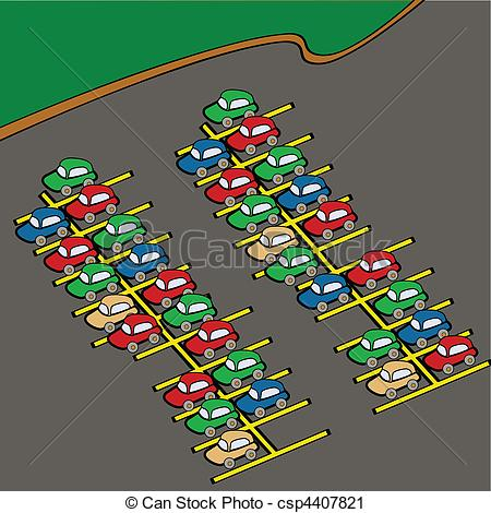 ... Parking Lot - Cartoon Illustration O-... Parking lot - Cartoon illustration of different colored cars.-8