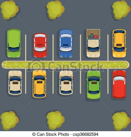 ... Parking Lot Top View - Vector Illust-... parking lot top view - vector illustration of a parking lot... ...-14