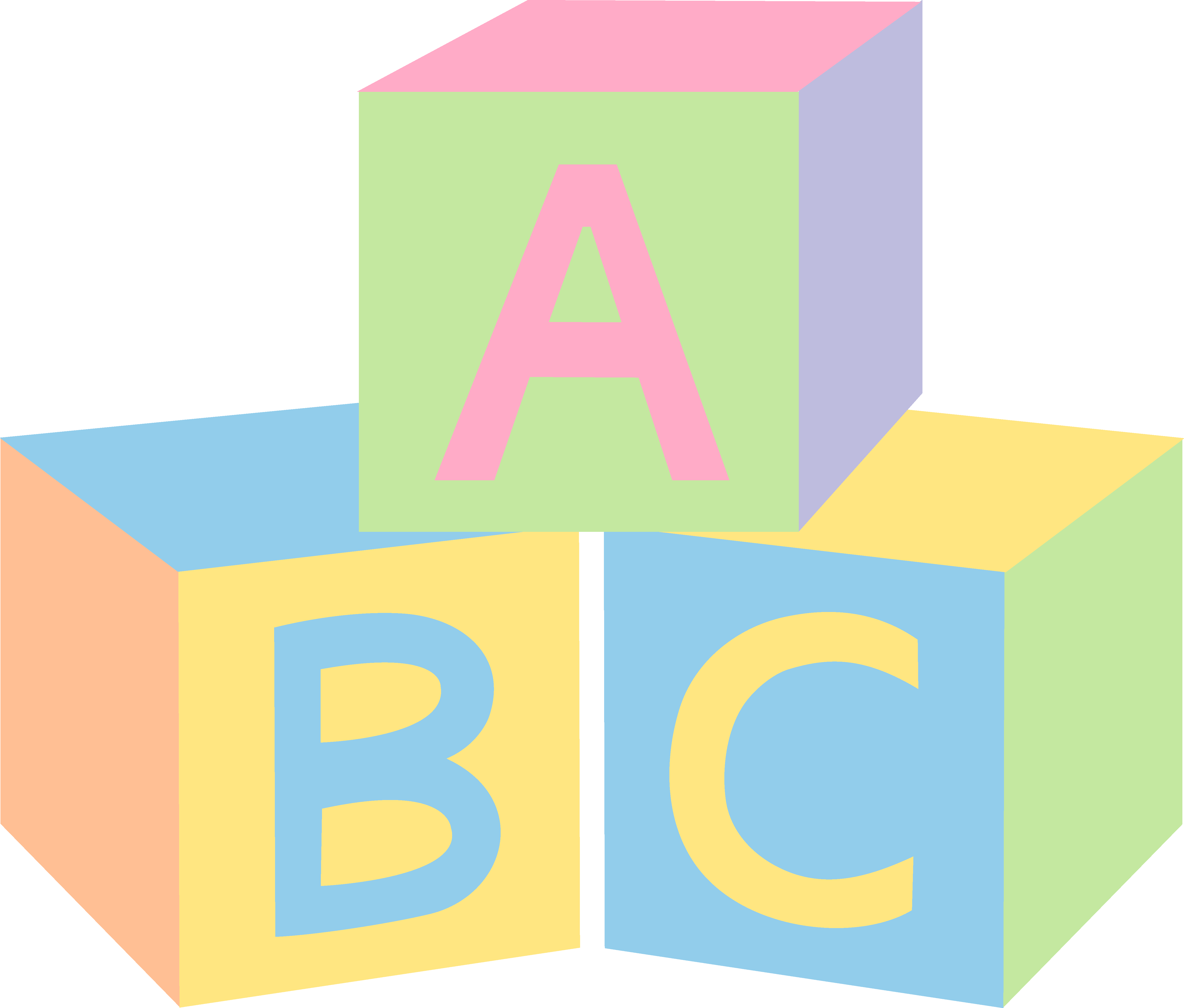 Pastel ABC Baby Blocks - Free Clip Art