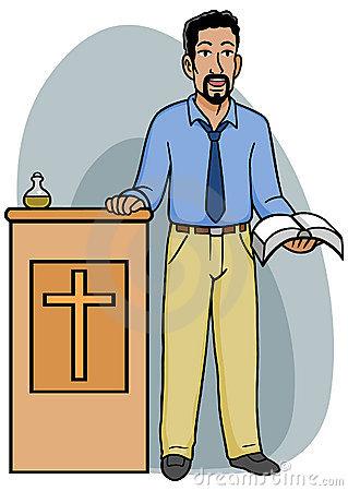 Pastor Que Sostiene Una Biblia Abierta H-Pastor Que Sostiene Una Biblia Abierta Haciendo Una Pausa Un Podium-3