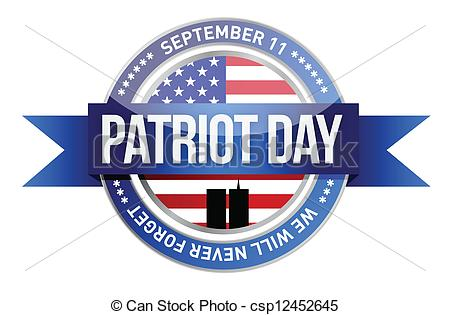 ... patriot day. us seal and banner illustration design
