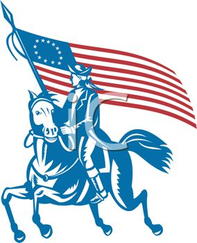 Patriotic Paul Revere Riding .-Patriotic Paul Revere Riding .-7