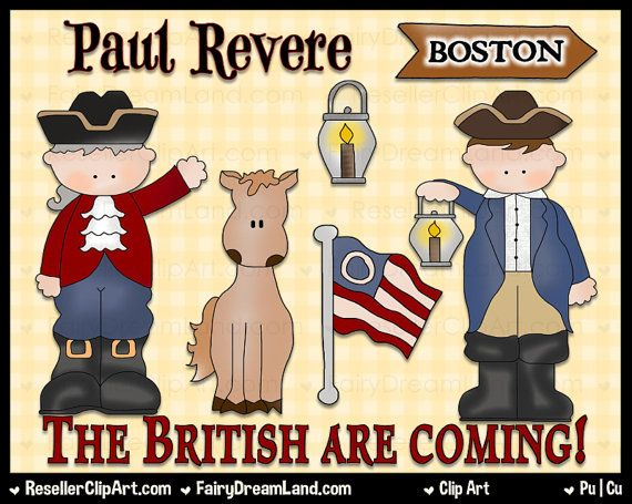 Paul Revere clip art set is inspired by the famous legend and includes word art.