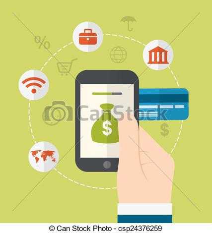 Concepts of online payment methods. Icons for online payment gateway,  electronic funds, flat