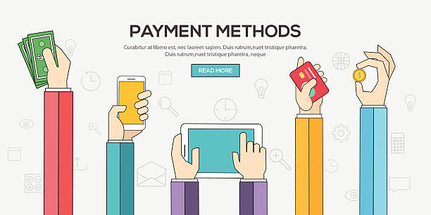 Flat designed banners exhibiting payment methods vector art illustration