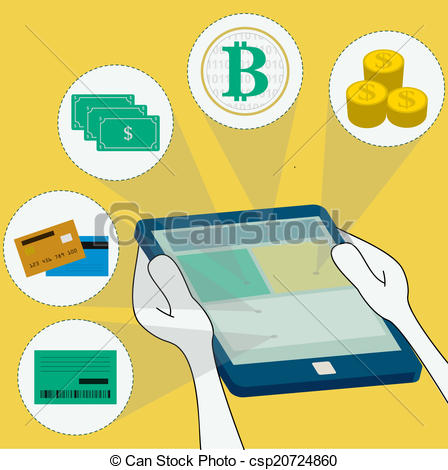 Online payment methods: money, virtual currency, bank, credit card and  debit. surfing the tablet.