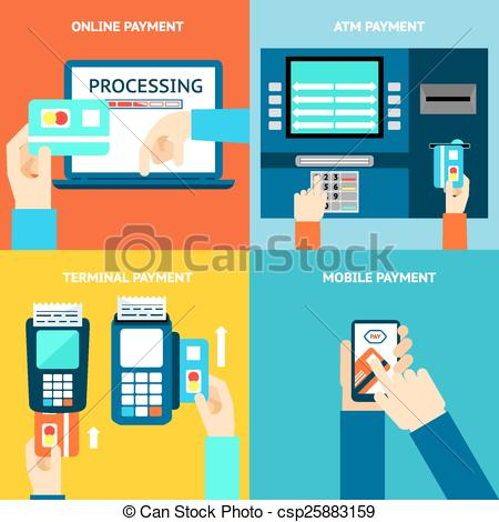 Payment methods. Credit card, cash, mobile app and ATM terminal -  csp25883159