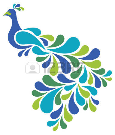 peacock: Retro-styled illustration of a peacock in blues and greens