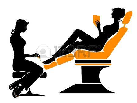 pedicure: illustration of the beautifull woman silhouette during her spa visiting