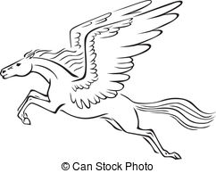 ... Pegasus - Black and white line art image of a winged horse.