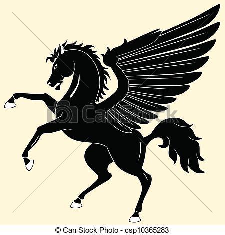 ... Pegasus - Silhouette Of Black Pegasu-... Pegasus - Silhouette of black Pegasus-17