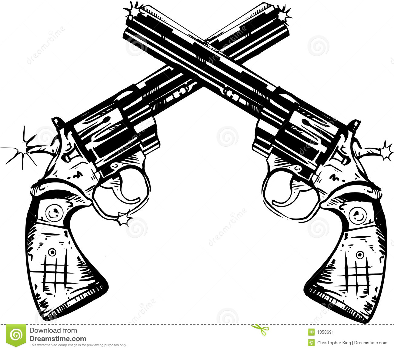 Pen And Ink Illustration Of Two Magnum Pistols Mr No Pr No 5 4532 36