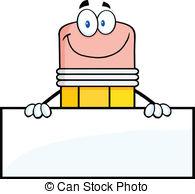 . ClipartLook.com Pencil Character Over -. ClipartLook.com Pencil Character Over Blank Sign - Smiling Pencil Cartoon.-10