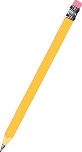 Pencil Clipart Image: Clip art illustration of a lead pencil with an eraser