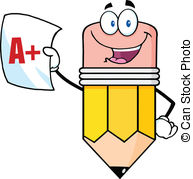 ... Pencil Holding A Report Card - Smiling Pencil Holding An A..