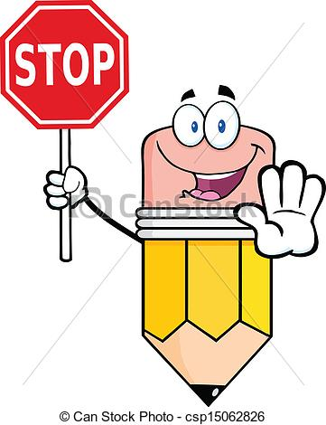 Pencil Holding A Stop Sign .-Pencil Holding A Stop Sign .-14