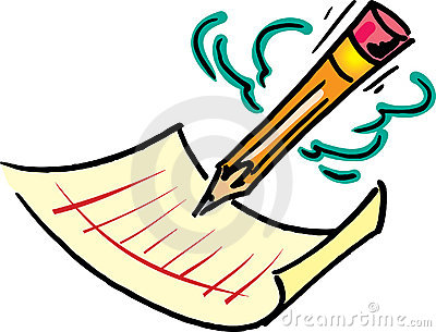 Pencil Image Writing On A Pie - Pencil And Paper Clip Art
