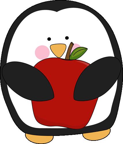 Penguin Holding an Apple