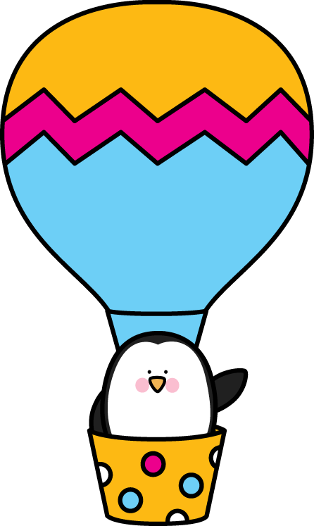 Penguin in a Hot Air Balloon - Hot Air Balloon Clip Art