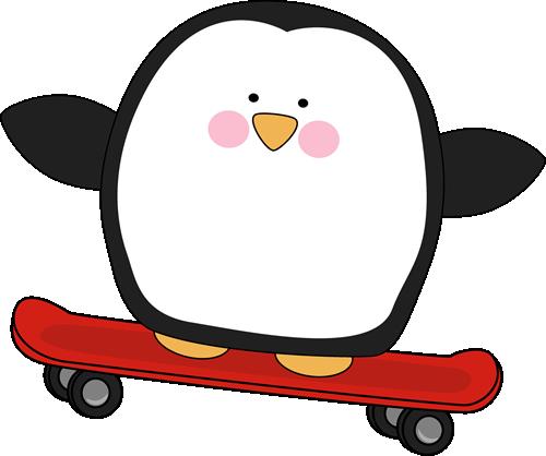 Penguin on a Skateboard