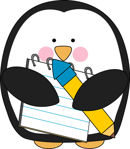 Penguin with a Notepad and Pencil