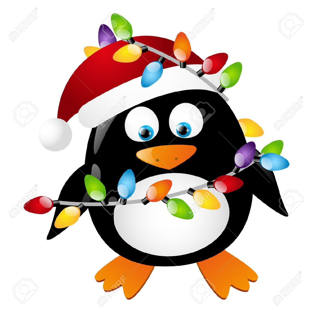 Penguin With Christmas Light Bulbs Royalty Free Cliparts, Vectors .