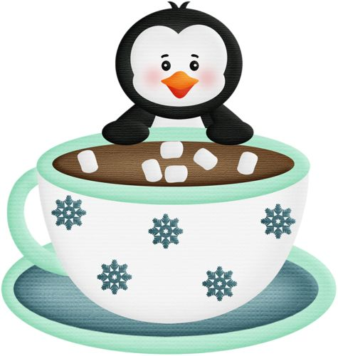 Penguin with hot chocolate