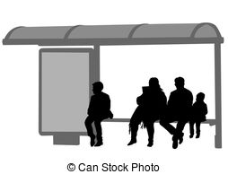 ... People at bus stop - Silhouettes of people at bus stop