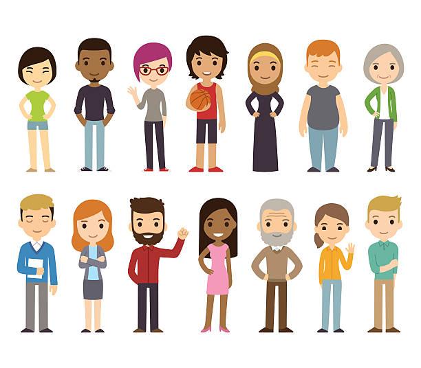 Cartoon diverse people vector art illustration