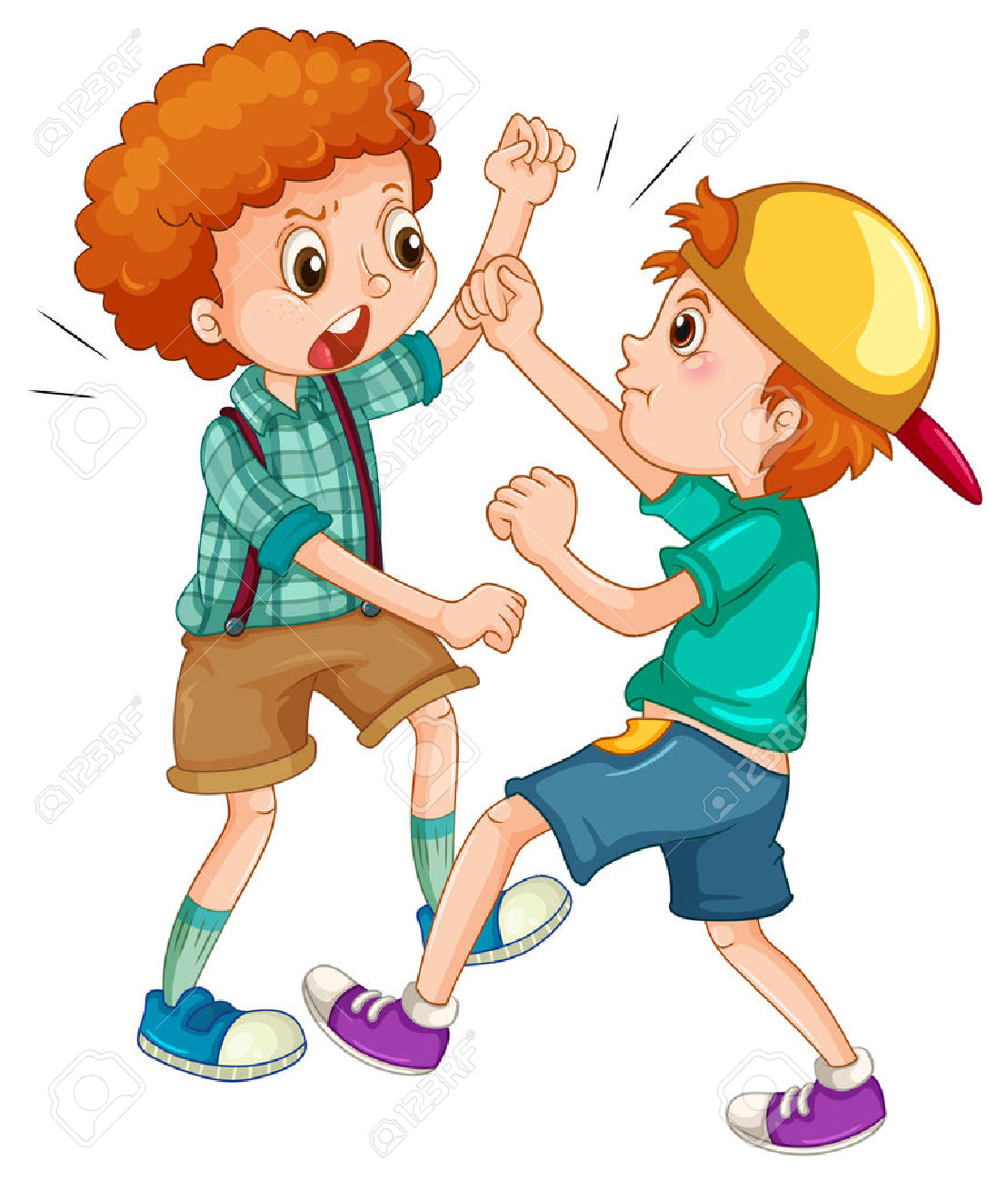 people fighting: Two boys fighting each other illustration