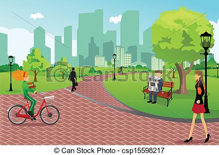 ... People In A City Park - A Vector Ill-... People in a city park - A vector illustration of young.-18
