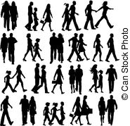 ... People walking - Large collection of-... People walking - Large collection of silhouettes of people.-7