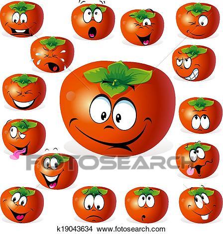 Clipart - persimmon fruit cartoon. Fotos-Clipart - persimmon fruit cartoon. Fotosearch - Search Clip Art,  Illustration Murals, Drawings-5